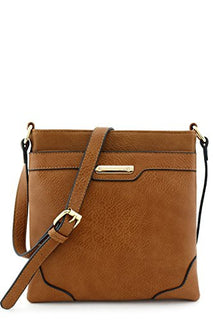 Women's Medium Size Solid Modern Classic Crossbody Bag with Gold Plate (Brown)