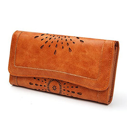 OURBAG Women's Lady Leather Wallet Purse Credit Card Clutch Holder Long Wallets Brown