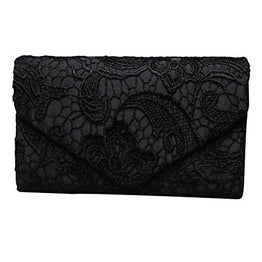 Fashion Road Evening Clutch, Womens Floral Lace Envelope Clutch Purses, Elegant Handbags For Wedding And Party Black