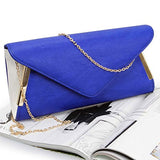 BMC Womens Sapphire Blue PU Faux Leather Envelope Flap Alloy Metal Two Tone White Accented Fashion Clutch Handbag