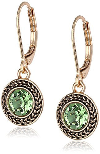 UP Ultrapink Napier Color Declaration Gold-Tone Green Swarovski Leverback Drop Earrings