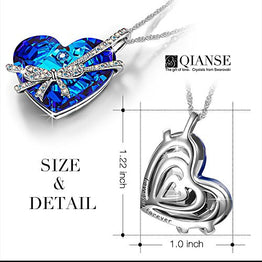 UP Ultrapink Qianse Women White Gold Plated with Crystal Heart of the Ocean Swarovski Pendant