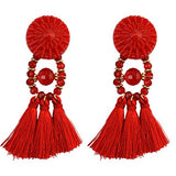 UP Ultrapink Bohemian Vintage Long Feather Beaded Tassel Drop Earring Stud (Red)