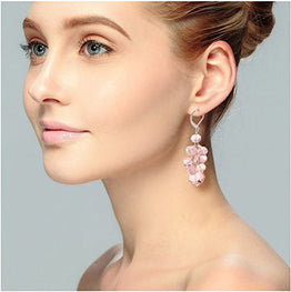 UP Ultrapink Ginasy Spring Colorful Cluster Crystal Glass Beads Dangle Earrings Beaded Linear Drop Earrings (Pink)