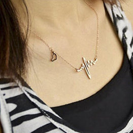 UP Ultrapink Bestpriceam New Women EKG Necklace Heartbeat Rhythm with Love Heart Shaped (Gold)