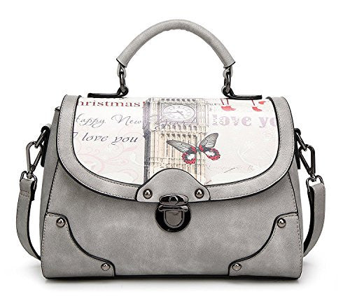 The Best Ladies PU Leather Vintage Top-handle Handbags 50's style Cross-body Bag with Bow For Women (Grey)