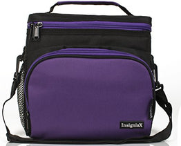 "Insulated Lunch Bag: InsigniaX Adult Lunch Box For Work, Men, Women With Adjustable Strap, Front Pocket and Side Pocket [Unisex Lunch Bags] H: 8.4"" x W: 6.3"" x L:9.1"" (Black and Purple)"