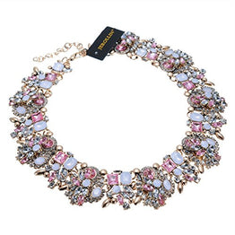 UP Ultrapink Vintage Gold Tone Chain Multi-Color Glass Crystal Charm Choker Statement Collar Necklace