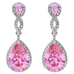UP Ultrapink EVER FAITH Silver-Tone Austrian Crystal Zircon Wedding 8-Shaped Pierced Dangle Earrings Pink