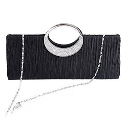 Jubileens Women's Shoulder Clutch Bag Rhinestone Evening Party Purse(Black)