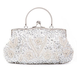 Chichitop Beaded Sequin Design Flower Evening Purse Large Clutch Bag,Silver