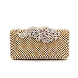 Weddinghelper Clutch Purses Golden Peacock for Women Luxury Rhinestone Crystal Evening Clutch Bags Vintage Party (gold)