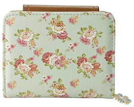 ETIAL Women's Vintage Floral Zip Mini Wallet Short Design Coin Purse Green