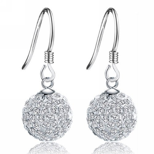 UP Ultrapink Merdia S925 Sterling Silver Simulated Crystal Ball White Ball Shaped Hook Earrings
