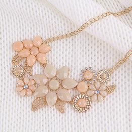 UP Ultrapink iWenSheng Peach Pink Choker Necklace Fashion Flower Bubble Bib Chain Statement Necklaces for Women