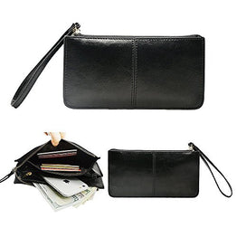 Befen Soft Leather Smartphone Zipper Wristlet Clutch Wallet - Black