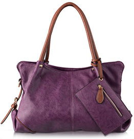 AB Earth 3 Pieces Hobo Handbag PU Leather Purses Matching Wallet Shoulder Bag, M898 (Purple)