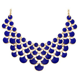 UP Ultrapink Jane Stone Fashion Bib Collar Necklace Multicolor Enamel Gold Statement Jewelry for Women(Fn0968-Royal Blue)