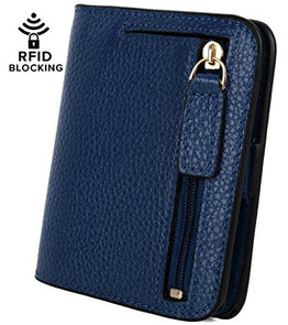 YALUXE Women's RFID Blocking Small Compact Bi-fold Leather Pocket Wallet Blue RFID