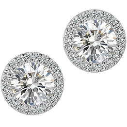 UP Ultrapink Fashion Jewelry 18k White Gold Plated Cubic Zirconia Halo Stud Earrings