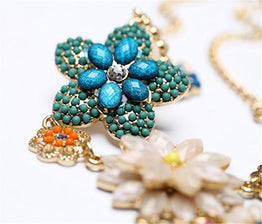 UP Ultrapink Fashion Colorful Flower Beaded Festoon Lavalier Y Bib Choker Collar Gold Necklace