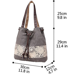 Hiigoo Printing Canvas Shoulder Bag Retro Casual Handbags Messenger Bags (Grey)