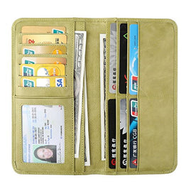 Women's Wallet - Genuine Italian Leather Long Bifold RFID Blocking Wallet (Matcha Green)