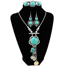 UP Ultrapink XY Fancy Flower Turquoise Jewelry Sets Vintage Look Tibetan Silver Alloy Delicate Necklace Bracelet Crystal Earring S001