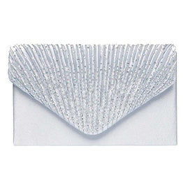 Fashion Road Womens Satin Envelope Evening Clutch Purse Wedding Party Prom Handbags Silver