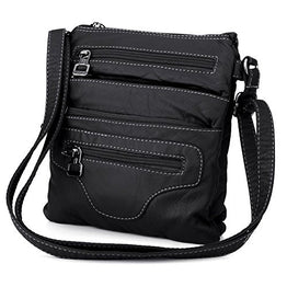 Lightweight Leather Handbag Crossbody Messenger Bag Shoulder Bag for Women Men (black)