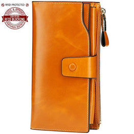 Itslife Women's RFID Blocking Large Capacity Luxury Wax Genuine Leather Cluth Wallet Ladies Card Holder (Tan RB)