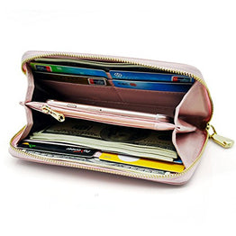 Eurlove Women PU Leather Wallet, Multifunctional Zipper clutch wallets with Large Space for Money, Cards and iPhone 6s