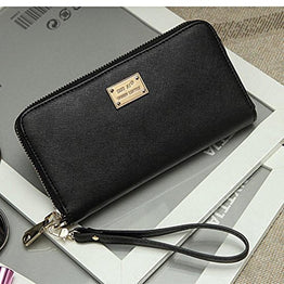 GBSELL Lady Women Wallet Purse Clutch Bag PU Leather Card Holder New Fashion (Black)