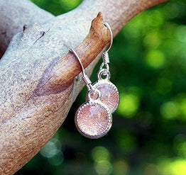 UP Ultrapink Recycled Antique Pink Depression Glass Color Dot Earrings