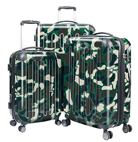 "HAUPTSTADTKOFFER Luggages Sets Glossy Suitcase Sets Hardside Spinner Trolley Expandable (20"", 24"" & 28"") TSA Camouflage"