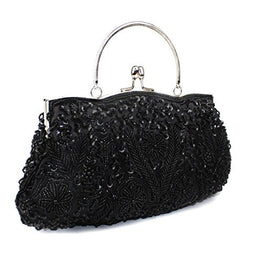 VMATE® Exquisite Antique Floral Seed Bead Sequin Soft Clutch Evening Bag with Shoulder Chain