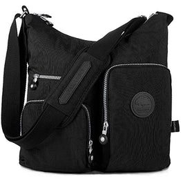 Nylon Crossbody Bag Multi-Pocket Travel Shoulder Bag (1204 Black)
