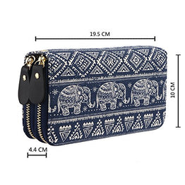 Bohemian Purse Wallet Canvas Elephant Pattern Handbag with Coin Pocket and Strap (One Size, Elephant)