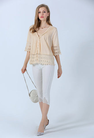 Pin Tuck Peasant Top For Women
