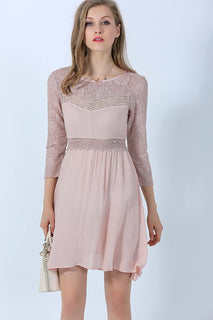Ultrapink Missy Elegant A line Dress Rayon with Lace and Crochet Inserts