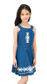 Ultrapink Girls Blue Denim Sleeveless Halter Banded Neck Fit n Flare Dress