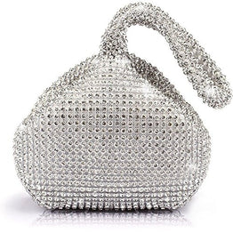 TOPCHANCES Triangle Full Rhinestones Women's Evening Clutch Bag Party Prom Wedding Purse (Sliver)