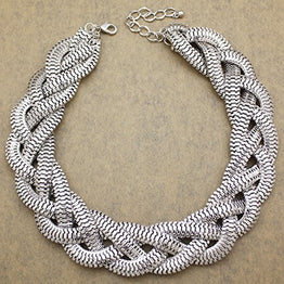 UP Ultrapink Silver Plated QQ Fashion Vintage Gold Egyptian Cleopatra Style Bold Snake Braided Chain Statement Bib Necklace,19.7 inch