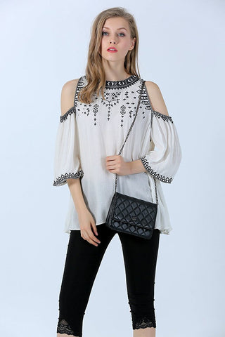 Embroidered Cold Shoulder Top For Women