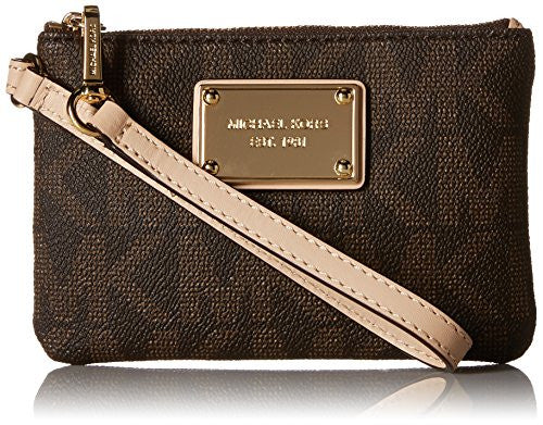 Michael Kors Jet Set Sig Print Small Zip Closure Wristlet Brown
