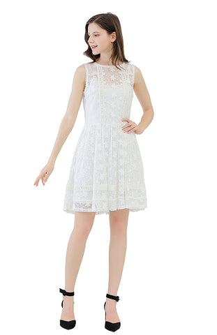 Allover Embroidery on Mesh Sheath Dress, Patchwork