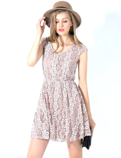 Ultrapink Juniors Designer Cap Sleeve A Line Dress 2 Tone Lace Cutout Back