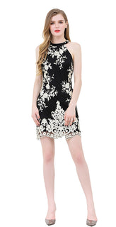 UP Ultrapink Junior Womens Woven Halter Mesh Dress with Shimmer Floral Embroidery