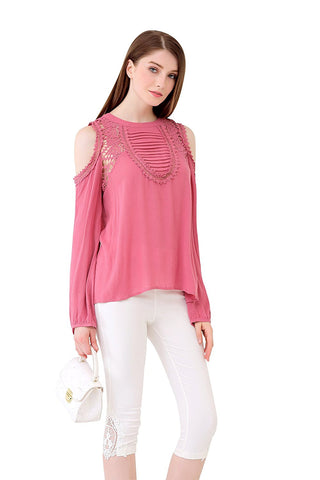 UP Ultrapink Juniors & Womens Cold Shoulder Pintuck Bib Crochet Lace Inserts Top