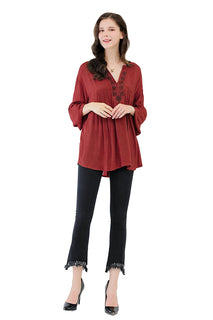 UP Ultrapink Missy Womens Woven Long Sleeves Tunic With Embroidery